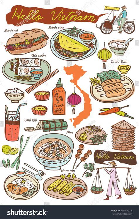 set  vietnamese food  icons doodles vector