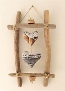 Bois Flotté Décoration : cadre en bois flott et c urs par l 39 atelier de corinne ~ Melissatoandfro.com Idées de Décoration