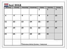 Kalender juni 2018, Nederland Michel Zbinden NL