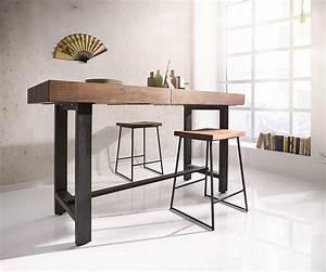 Tischdecken Für Lange Tische : bartisch blokk 165x60cm akazie braun mit metallgestell m bel tische bartische ~ Buech-reservation.com Haus und Dekorationen