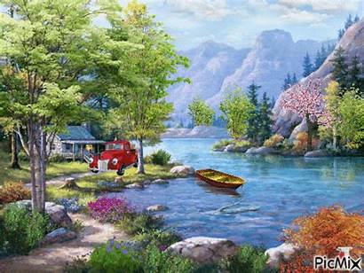 Landscape Oil Painting Living Numbers Canvas Framed