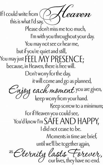 Poems Funeral Quotes Heaven Memorial Parents Poem