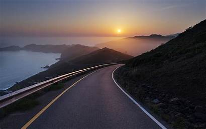 Road Sunset Wallpapers Wide