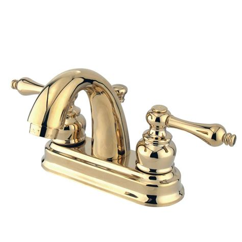 Polished Brass Bathroom Faucets Centerset by Kingston Brass Restoration 4 In Centerset 2 Handle Mid