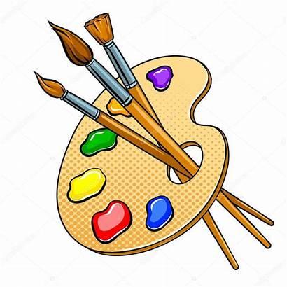 Palette Pop Brushes Pinsel Farben Tavolozza Clipart