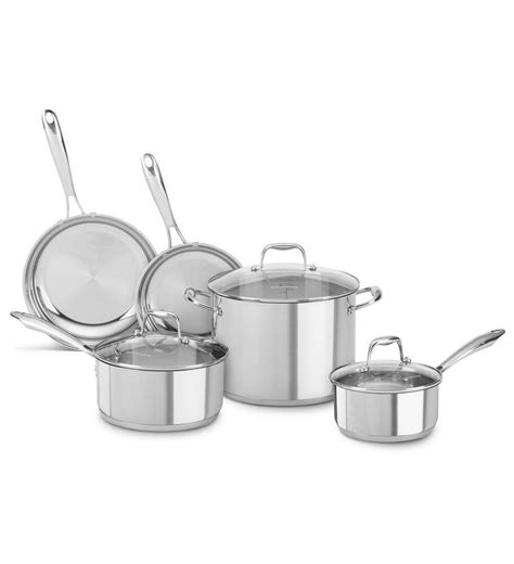 stainless steel cookware kitchenaid piece pots pans lowes lids sets cook lid included