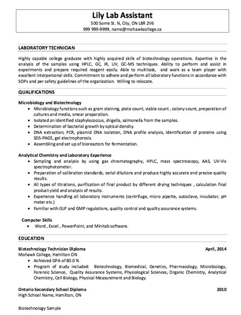 Lab Technician Resume Format by Laboratory Resume