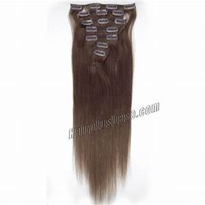 30 Inch 4 Medium Brown Clip In Human Hair Extensions 11pcs