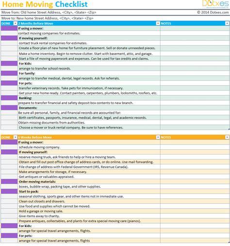 home moving checklist template professional version dotxes