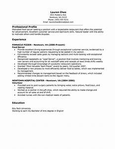 Cover Letter Catering Server Sample Resume Resume Daily