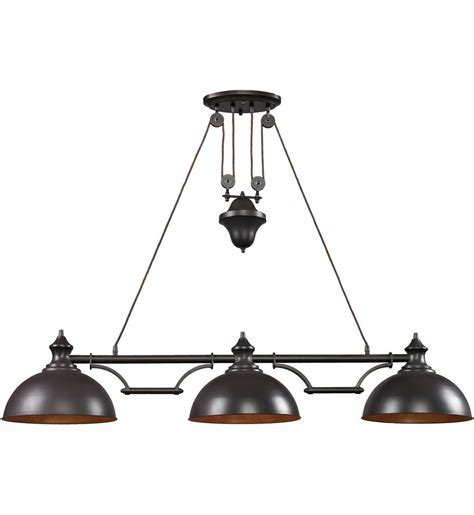 Lamps.com: ELK Lighting Farmhouse Oiled Bronze 3 Light Island Light