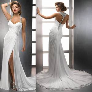 2014 new design wholesale chiffon flowing beach halter With flowing wedding dresses