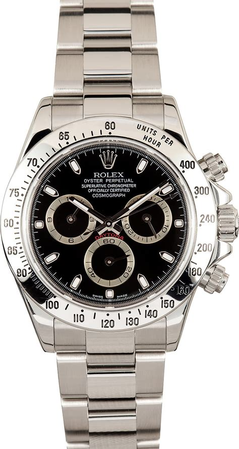 Rolex Daytona Stainless Steel Black 116520 - Save At Bob's ...