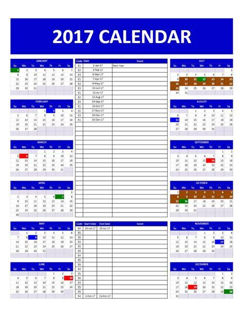 2017 calendar planner 2017 planner excel calendar template 2016