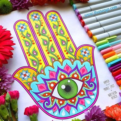 coloring with markers hamsa coloring page from my folk coloring book