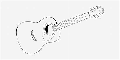 Guitar Outline Acoustic Clipart Drawings Drawing Transparent