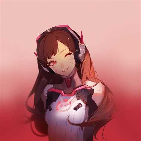 At81 Dva Overwatch Cute Anime Game Art Illustration Red