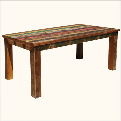 distressed wood dining table rustic solid teak reclaimed wood distressed dining table