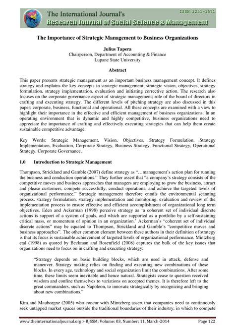 importance  strategic management  business