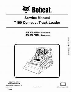 Bobcat T190 Compact Track Loader Service Repair Workshop
