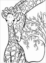 Giraffe Coloring Giraffes Mother Printable Adult Animal Mom Adults Tree Drawings Sketches Mandala Animals Justcolor Planet sketch template