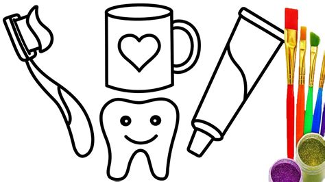 Toothbrush And Toothpaste Coloring Page Learn Colors With How To Draw Toothbrush And Toothpaste