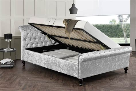 Ottoman Sleigh Bed by St Silver Crushed Velvet Ottoman Sleigh Bed Frame