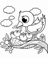 Coloring Bird Nest Birds Children 15t23 Mom sketch template