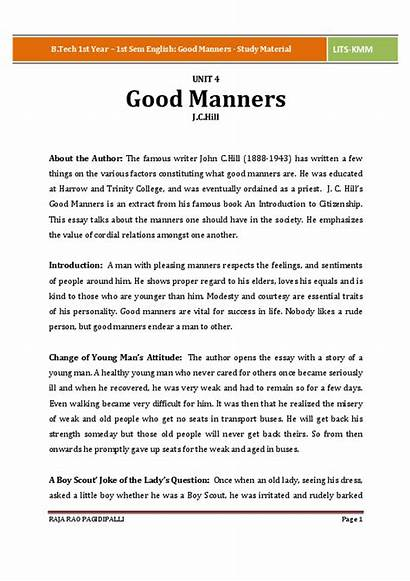 Manners English Study Material 1st Sem Hill