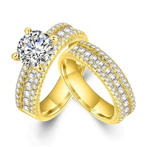 western style zirconia ring yellow gold filled 2 bridal engagement