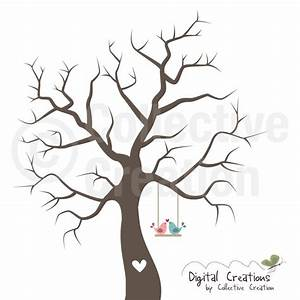 wedding fingerprint tree silhouette digital by With friendship tree template