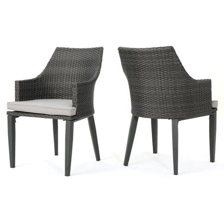 hillcrest outdoor wicker dining chairs  weather resistant cushions set   grey  light