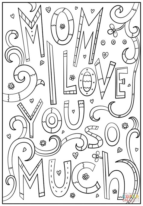 If you're in love, it's easy to understand the bursting feelings your heart can hardly contain. Mom, I Love You So Much coloring page | Free Printable ...
