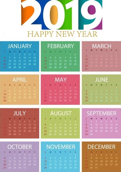 calendar template colorful modern decor vector misc vector