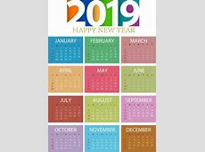 2019 Calendar Template Colorful Modern Decorvector Misc