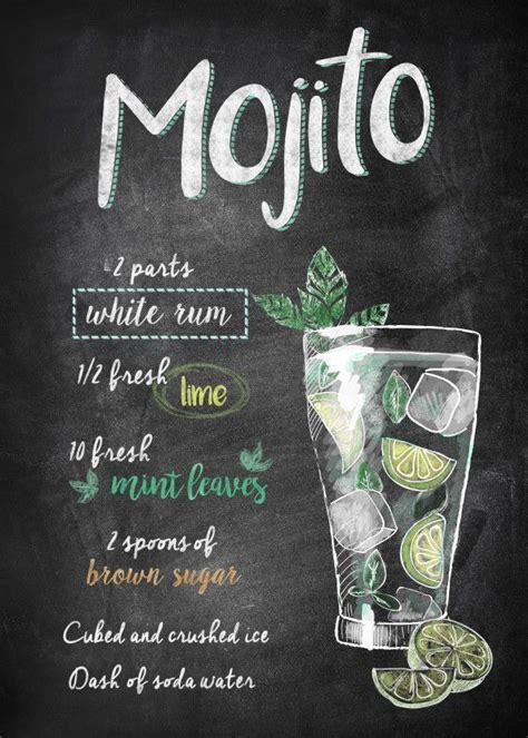 mojito food kitchen poster drucken poster aus metall