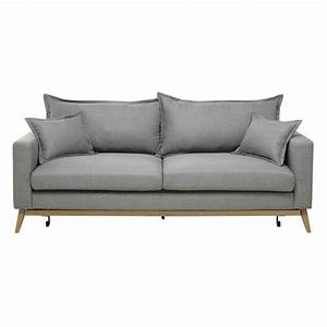 Canape convertible 3 places en tissu gris clair duke for Maison canape convertible