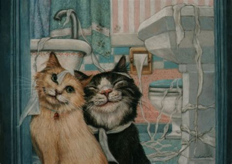 cat kittens in bathroom funny aceo print from original oil