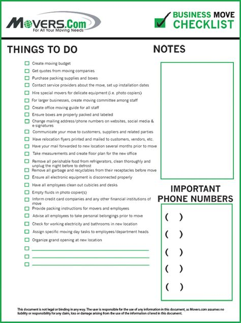 business relocation checklist