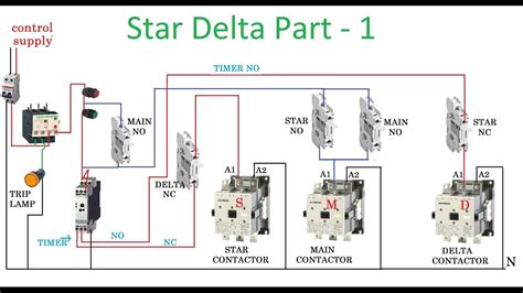 Star Delta Starter Motor Control With Circuit Diagram