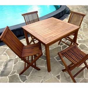 Table Salon Carrée : ensemble en teck petit prix salon table 4 chaises ~ Teatrodelosmanantiales.com Idées de Décoration