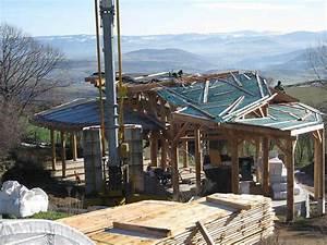 construction courbe en poteaux poutres bois et bottes de With maison bois et paille 4 poteaux poutres et paille