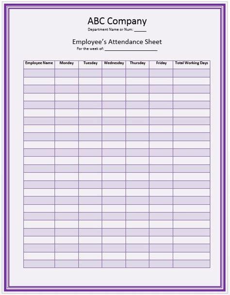 office staff attendance sheet template attendance sheet