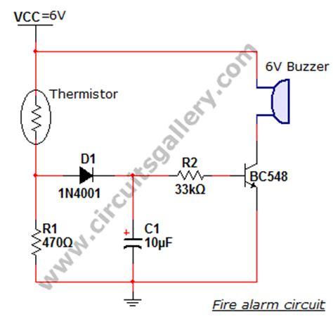simple alarm thermistor circuit diagram electronics circuits