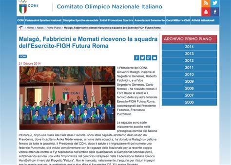 Futura Sito by La Pallamano E Futura Da Malag 242 E Sul Sito Coni