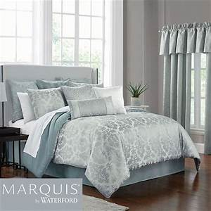 Surrey, Aqua, Mist, Damask, Comforter, Bedding, From, Marquis, By