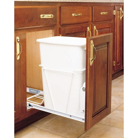 kitchen corner cabinet trash can pull out shop rev a shelf 35 quart plastic pull out trash can at
