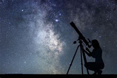 Looking Stars With Telescope Stock Vector