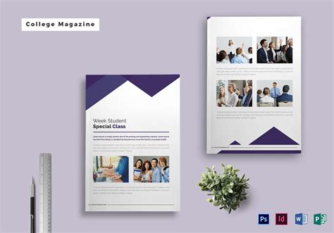 college magazine template  psd word publisher indesign
