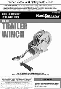 Manual For The 62592 1  2 Ton Capacity Hand Winch